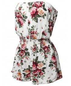Women's Floral Print Off-Shoulder Elastic Waist Band Romper