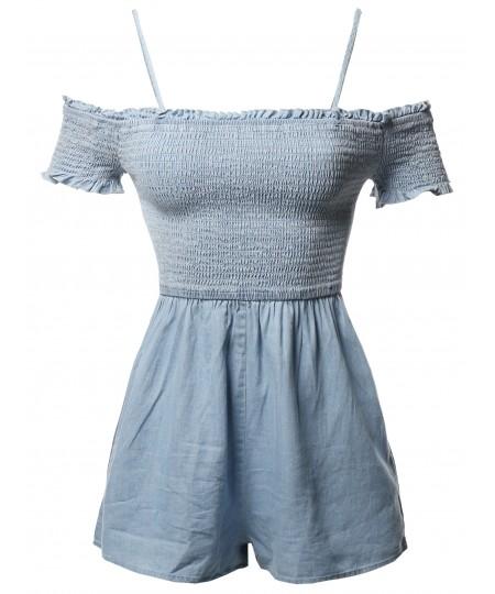 Women's Cotton Denim Off Shoulder Ruffle Cap Sleeves Romper Jumpsuit