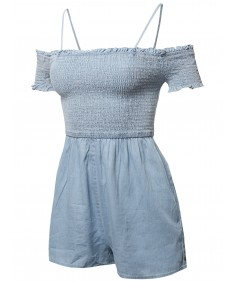 Women's Cotton Denim Off Shoulder Ruffle Cap Sleeves Romper Jumpsuit