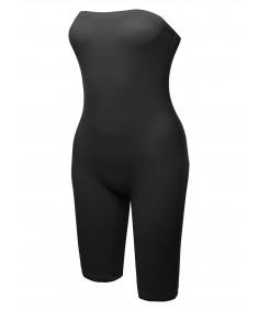 Women's Solid Sexy Tube Bodysuit Biker Short Jumpsuit