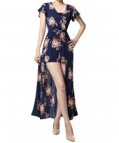 Women's Floral Printed Short Sleeves Split Maxi Short Overlay Romper