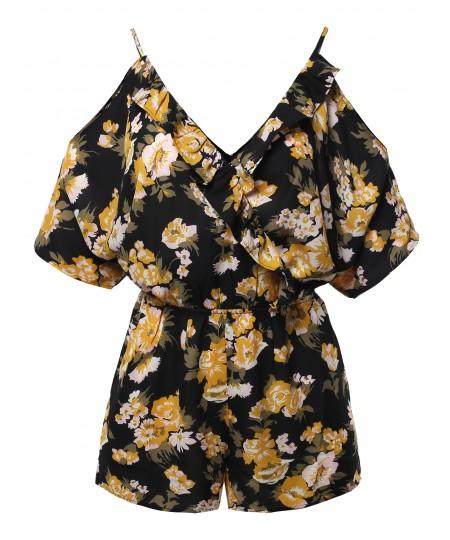 Women's Floral Print V-Neck Kimono Style Sleeves Romper
