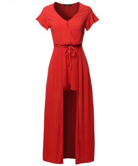 Women's Solid Short Sleeves Split Maxi Short Overlay Romper