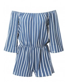 Women's Pinstripe Print Off-Shoulder Romper Jumpsuit