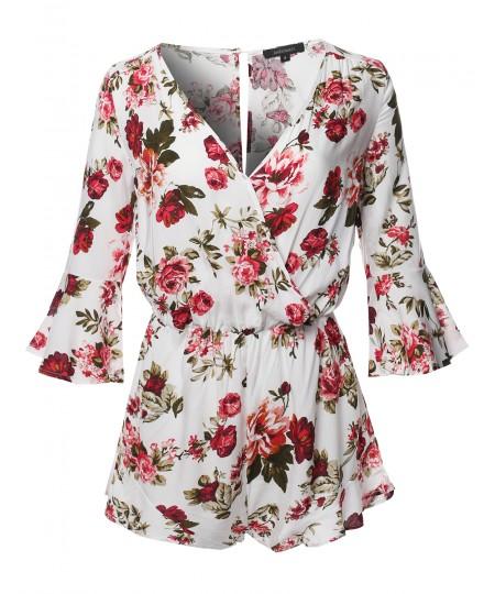 Women's Floral Print Deep V-Neck 3/4 Ruffle Sleeve Romper Jumpsuit