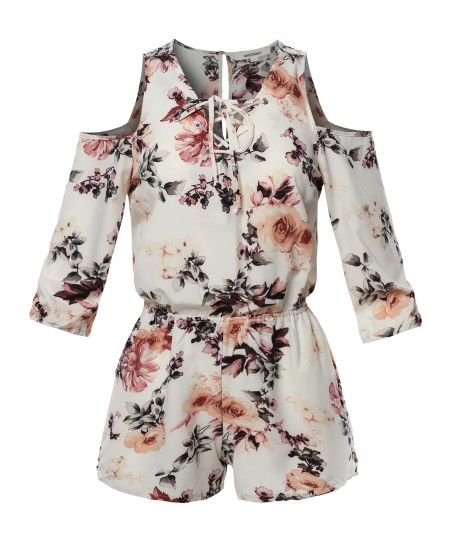 Women's Floral 3/4 Sleeves Front Lace Up Detail Cold Shoulder Romper