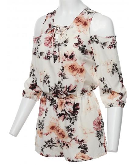 Women's Floral 3/4 Sleeves Front Lace Up Detail Cold Shoulder Romper