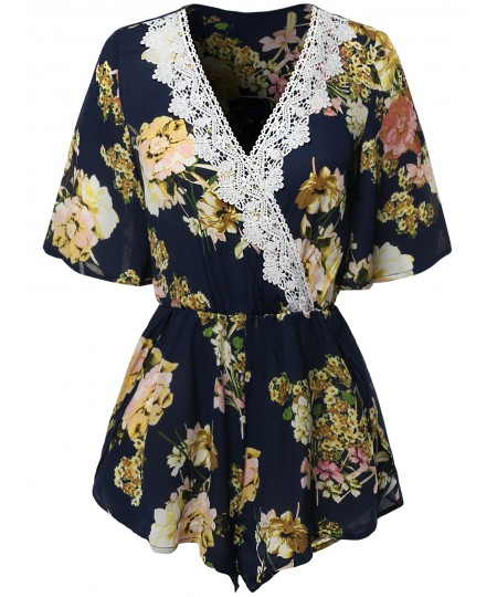Women's Casual Floral Lace  Detailed Deep V-Neck Romper