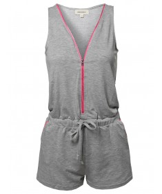 Women's Active Simple Solid Front Zipper Closure Sleeveless Romper