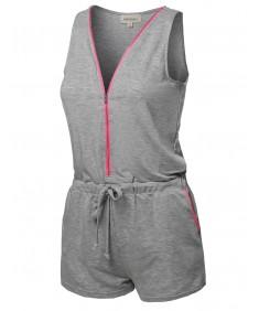 Women's Solid Sleeveless Drawstring Waistband Zipper Front Romper
