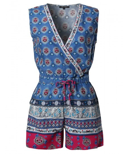 Women's Casual Summer Bohemian Print Surplice Neckline Sleeveless Romper