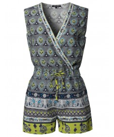 Women's Casual Summer Bohemian Print Surplice Neckline Sleeveless Romper