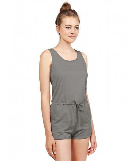 Women's Solid Jersey Sleeveless Racerback Waistband Pockets Romper