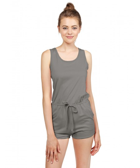 Women's Solid Sleeveless Round Neck Key Hole Back Romper