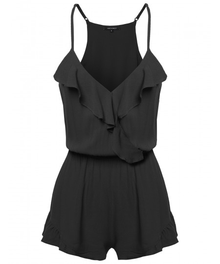 Women's Casual Sleeveless Overlapped Front Ruffle Detail Romper Jumpsuit