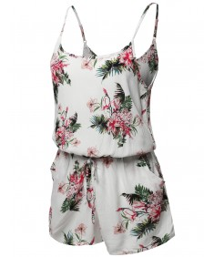 Women's Floral Print Sleeveless Spaghetti Strap Romper Jumpsuit