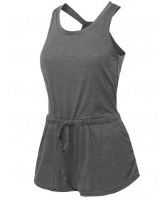 Women's Solid Sleeveless Open Racer-Back Romper Jumpsuit