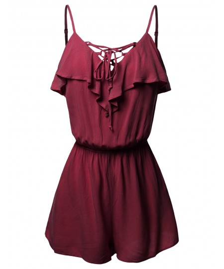 Women's Casual Adjustable Spaghetti Strap Ruffle Detail Lace Up Romper