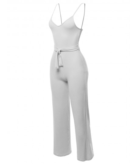 Women's Solid Sleeveless Strap Sexy Romper Jumpsuit With Waist Belt