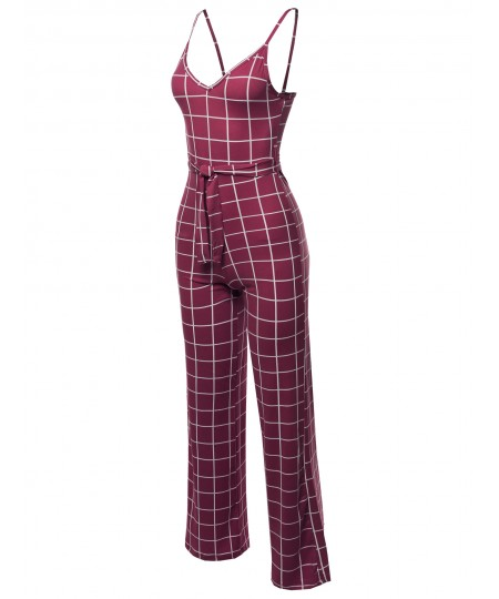 Women's Sleeveless Strap Printed Self Tied Sexy Romper Jumpsuit