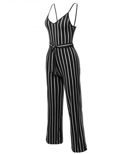 Women's Pinstripe Sleeveless Strap Self Tied Waistband Jumpsuit
