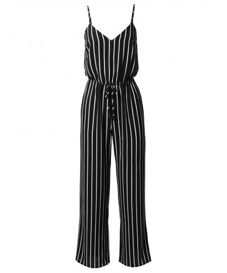 Women's Casual Stripe Printed Wide Leg Camisole Jumpsuit Romper
