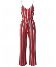 Women's Casual Stripe Printed Wide Leg Camisole Jumpsuit Romper