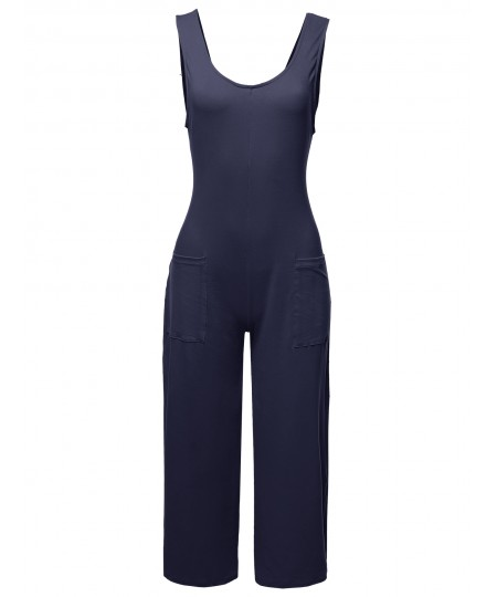 Women's Casual Solid Ankle Length Front Pocket Jumpsuit