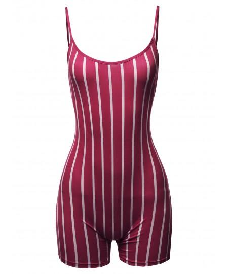 Women's Pin-stripe Spaghetti Strap Sexy Bodysuit Biker Short Jumpsuit