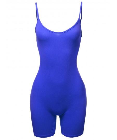 Women's Solid Spaghetti Strap Sexy Bodysuit Biker Short Jumpsuit
