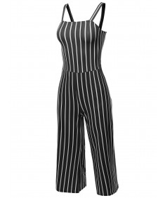 Women's Casual Stripes Ankle Length Shoulder Strap Jumpsuit