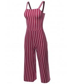 Women's Casual Stripes Ankle Length Shoulder Strap Jumpsuit