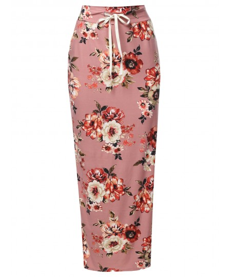 Women's Casual High Waist Drawstring Maxi Skirt - Made In USA
