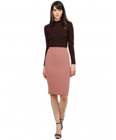 Women's Fitted Solid Bubble Crepe High Waist Midi Pencil Skirt