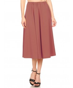 Women's Solid High Waist A-Line Pleated Flare Skirt - Made in USA