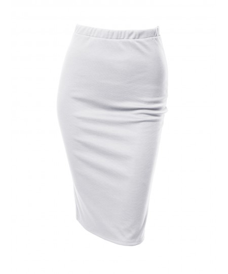 Women's Solid Office High Waist Midi Pencil Skirt - Made in USA