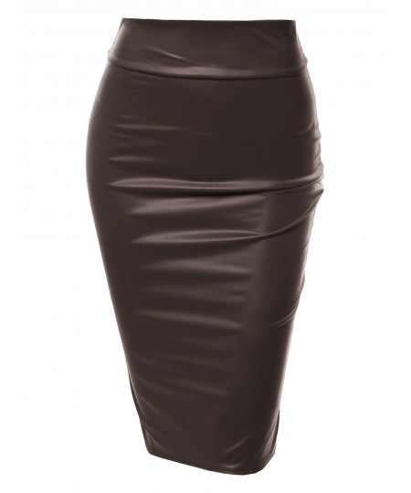 Women's Sexy Casual Faux Leather Fitted Midi Pencil Skirt - Made In USA