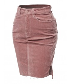Women's Solid Corduroy High-Rise Pencil Midi Skirt