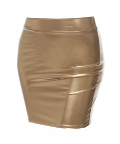 Women's Sexy Casual Faux Leather Fitted Mini Pencil Skirt - Made in USA