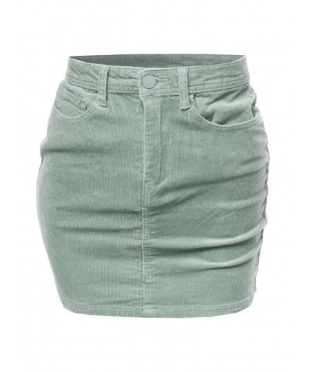 Women's Solid Corduroy High-Rise Pencil Mini Skirt