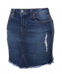 Women's Casual Frayed Hem Denim Mini Skirt