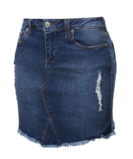 Women's Casual Frayed Hem Denim Mini Skirt