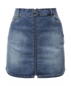 Women's Casual Exposed Front Zipper Denim Mini Skirt