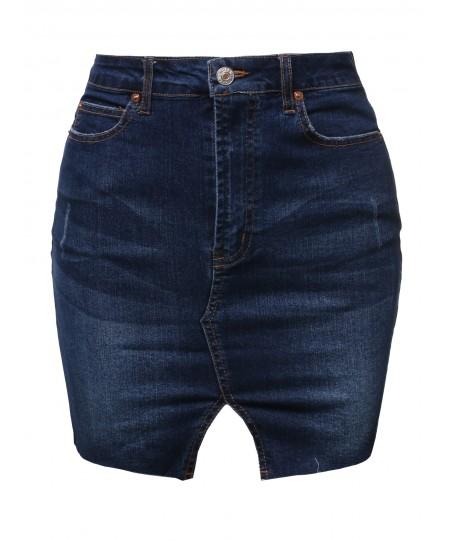 Women's Casual Raw Hemline Denim Mini Skirt