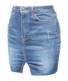 Women's Casual Raw Hemline Denim Mini Skirt