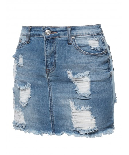 Women's Casual Destroyed Detail Denim Mini Skirt