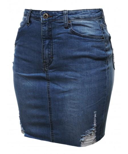 Women's Casual High-Rise Washed Denim Mini Skirt