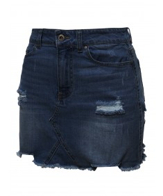 Women's Casual Stone Washed Denim Mini Skirt