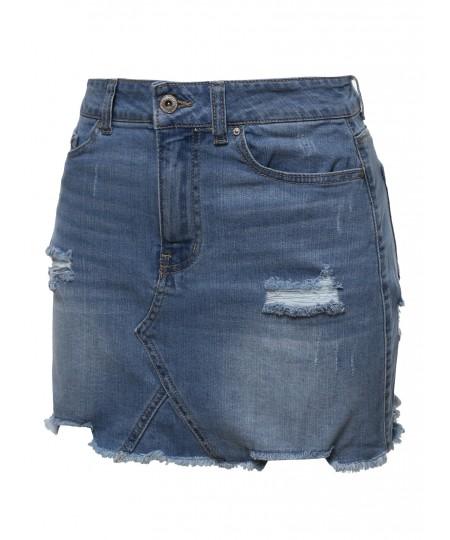 Women's Casual Stone Washed Denim Mini Skirt