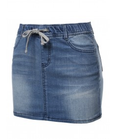 Women's Casual Mini Washed Denim Skirt